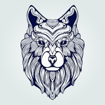 Wolf head line art dark blue color decorative face with unique crown