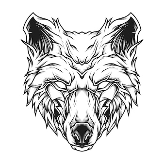Иллюстрация искусства линии головы волка