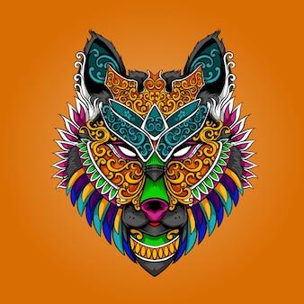 늑대 머리 마스코트 화려한 아름다운 그림