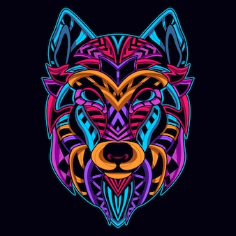 Wolf head in neon color art style