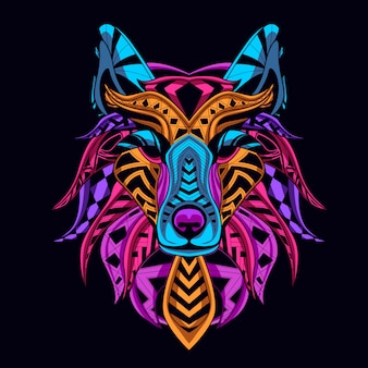 늑대 머리 네온 컬러 스타일 어둠 속에서 빛