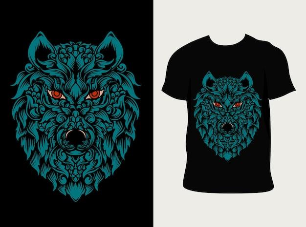 T 셔츠 디자인으로 늑대 머리 장식 스타일