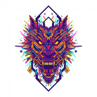 Wolf head pop art geometric illustration
