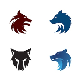 늑대 머리 템플릿 벡터 일러스트 디자인