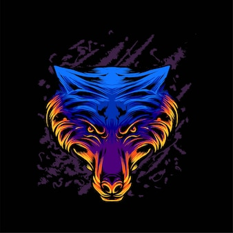 Векторная иллюстрация головы волка. подходит для футболки, принта и одежды