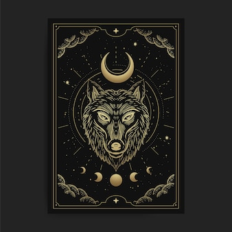 Wolf head with crescent moon in luxurious celestial engraving style