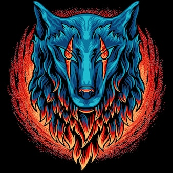 Wolf head with fire