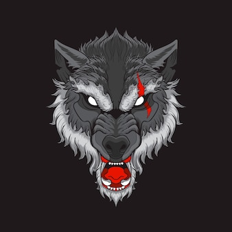 Wolf head with scar in black background