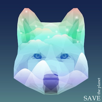 북극광 하늘에 빛나는 눈 덮인 산과 밝은 별이 있는 늑대 머리. 디자인 카드, 초대장, 포스터, 현수막을 위한 자연과 동물 보호를 주제로 한 개념 그림