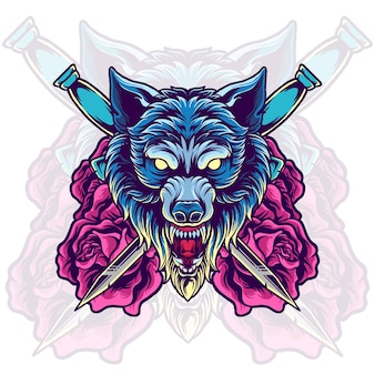 Wolf head with sword and rose