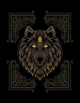 빈티지 장식 화 염과 늑대 머리