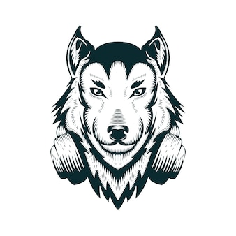 Wolf headphone vector illustration