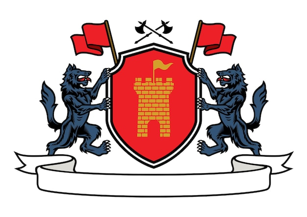 Wolf heraldry in coat of arms style