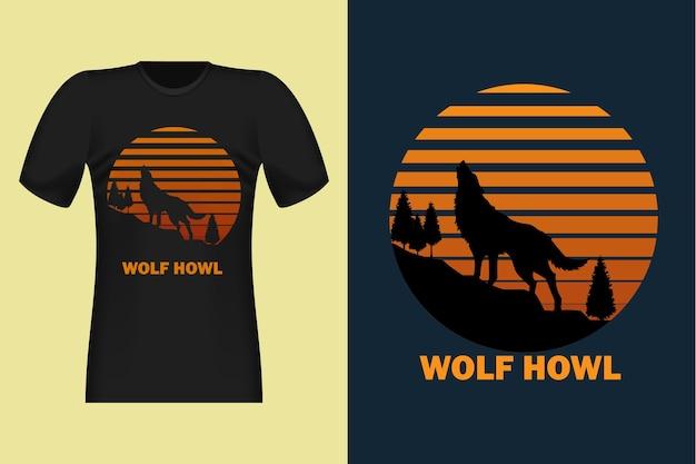 늑대 하울 실루엣 빈티지 레트로 티셔츠 디자인