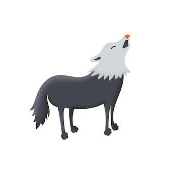 늑대 짖는 동물 프리미엄 벡터