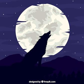 月の背景で狼を吠えさせる