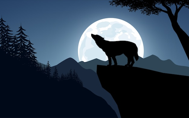 Wolf howling on a cliff