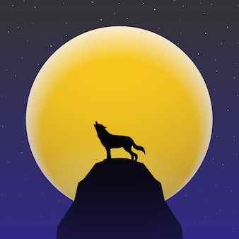 Wolf howling in front of super moon