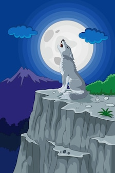 Wolf howling under the full moon