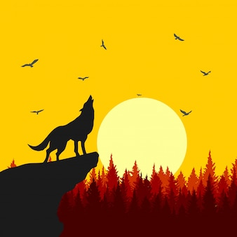 Wolf howling illustration