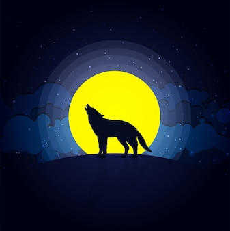 Wolf howling at moonlight illustration concept