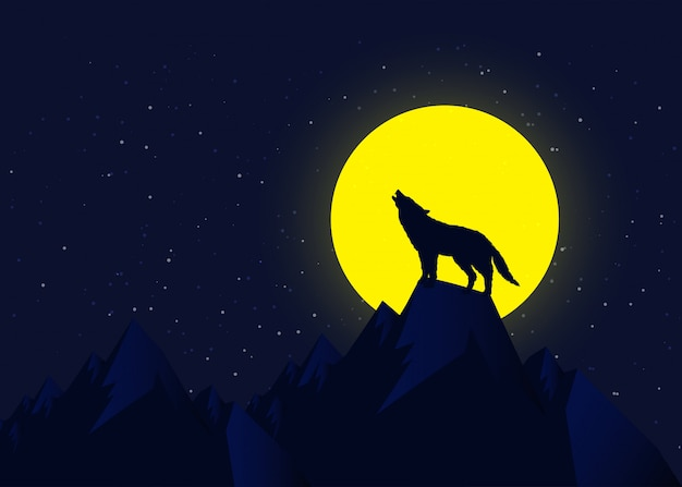Wolf howling at moonlight, vector illustration concept.