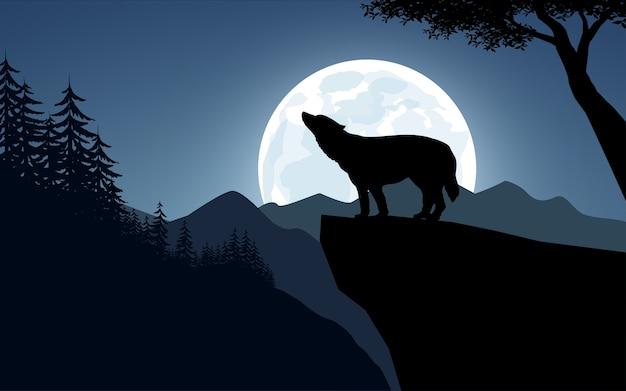 崖の上で吠えるオオカミ