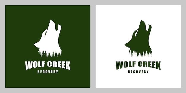 Wolf howling pine forest logo design illustration