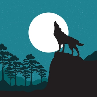 オオカミの遠吠え野生動物のシルエットシーン