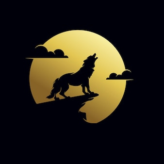The wolf howls to the moon logo design template