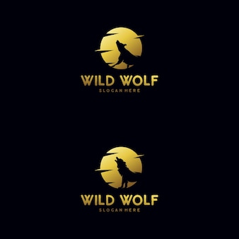 The wolf howls to the moon logo