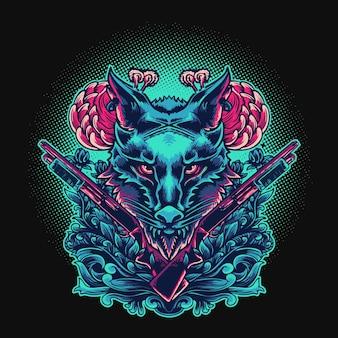 Волк охотник голова орнамент векторные иллюстрации