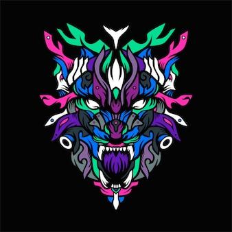The wolf hunter vector illustration