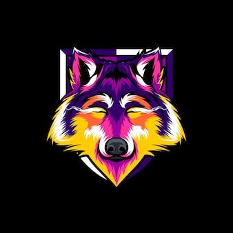 늑대 그림 화려한 디자인 벡터 프리미엄 벡터