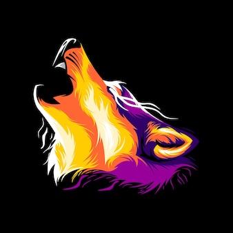 Wolf illustration colorful design vector