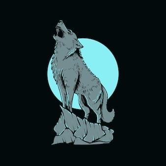 티셔츠 디자인을 위한 늑대 그림