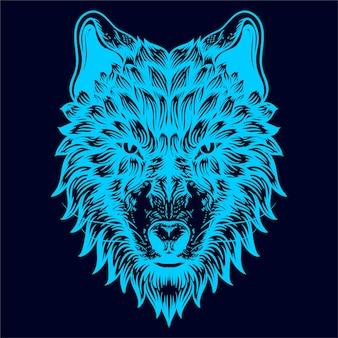 늑대 그림 광선 색 라인 아트