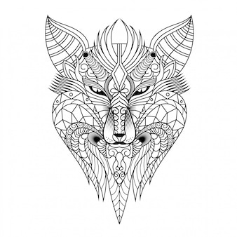 Wolf illustration, mandala zentangle and tshirt design