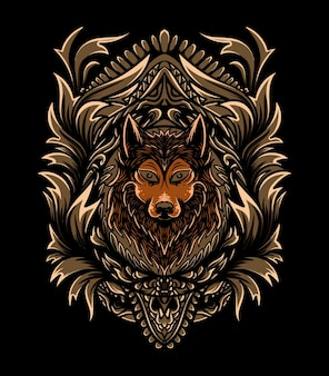 Wolf illustration with ornament