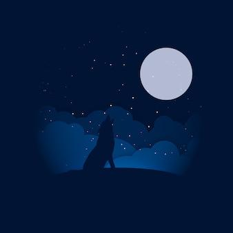 満月のイラストにハウリングするシルエットのオオカミ