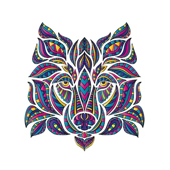 The wolf is drawn with patterns, boho style.  illustration.