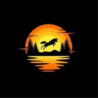 늑대 점프 실루엣 일러스트 벡터 동물 로고 디자인 오렌지 일몰 흐린 바다 보기