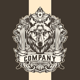 Wolf king vintage logo