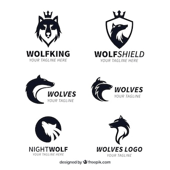 Коллекция логотипа wolf king