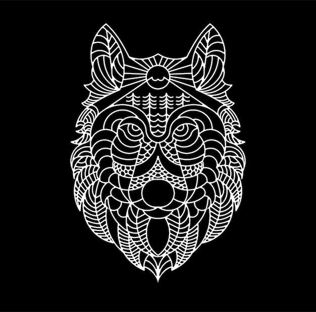 늑대 라인 아트 일러스트 티셔츠