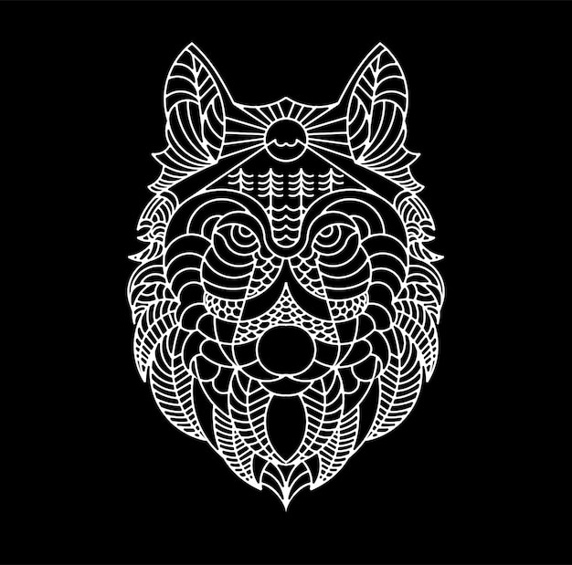 Wolf line art illustration artwork for t-shirt