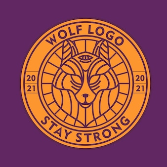 Wolf line art logo vector