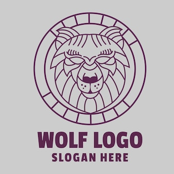 Wolf line art logo Premium Vector