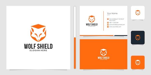 オオカミのロゴのデザインと名刺