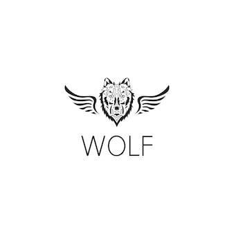 オオカミのロゴのグラフィックデザインのコンセプト。編集可能なオオカミの要素は、ロゴタイプ、アイコン、webおよび印刷のテンプレートとして使用できます